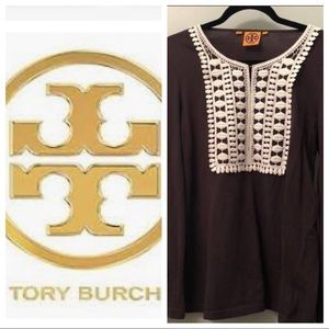 💐Host Pick💐 Tory Burch top brown with crochet